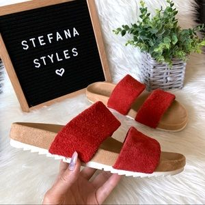 Naturalizer Amabella Red Suede Leather Sandals